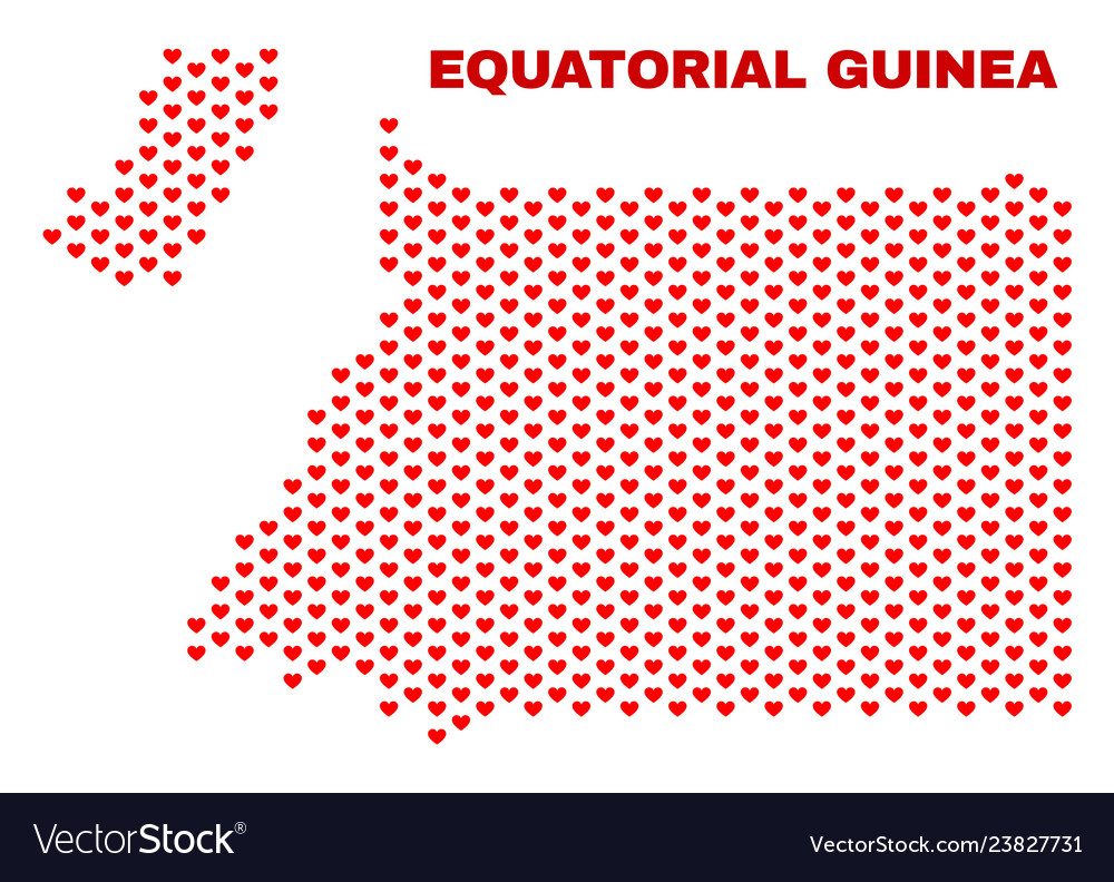 Equatorial guinea map - mosaic of lovely hearts