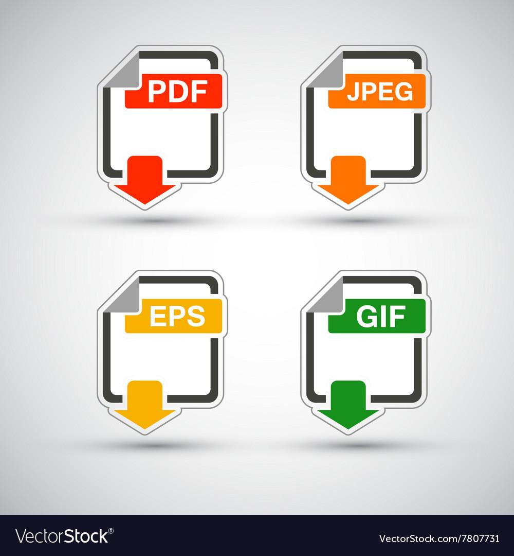 File format flat icon set