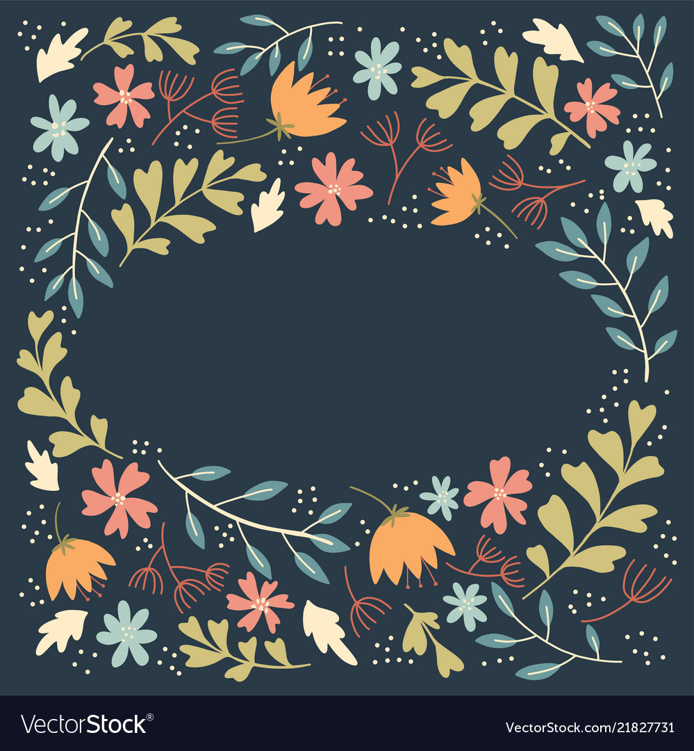 Folk flowers frame