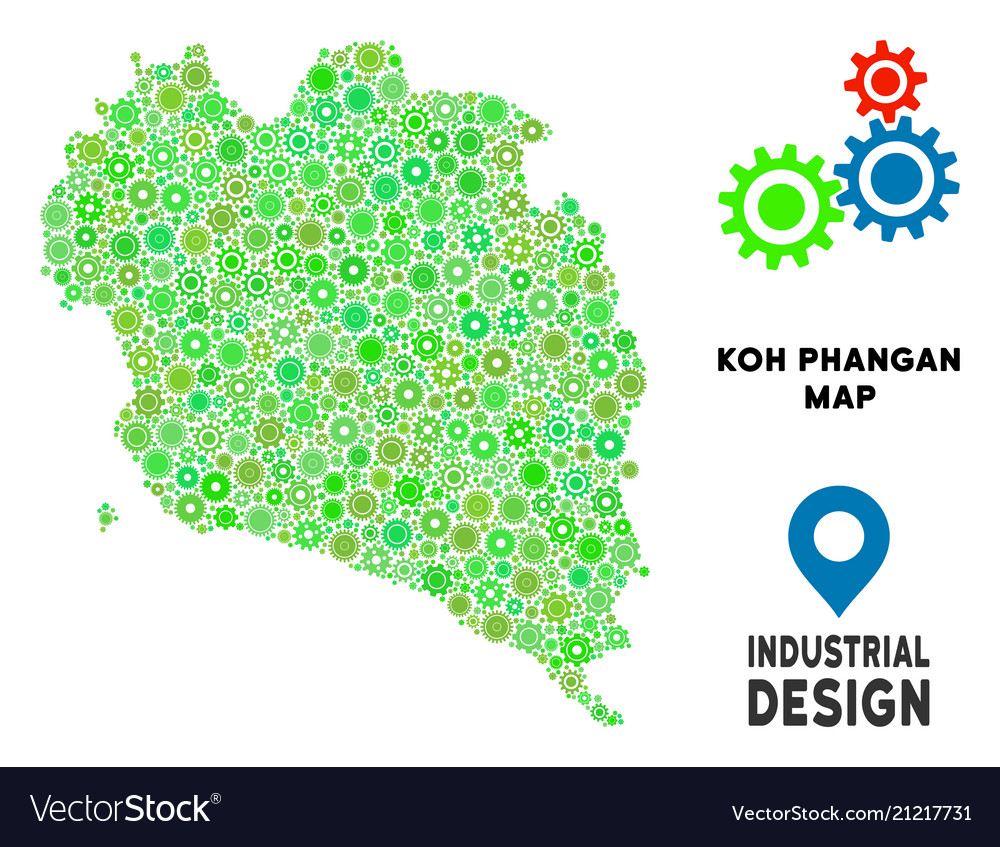 Koh Phangan Thailand Map.Gears Koh Phangan Thai Island Map Composition Vector Image
