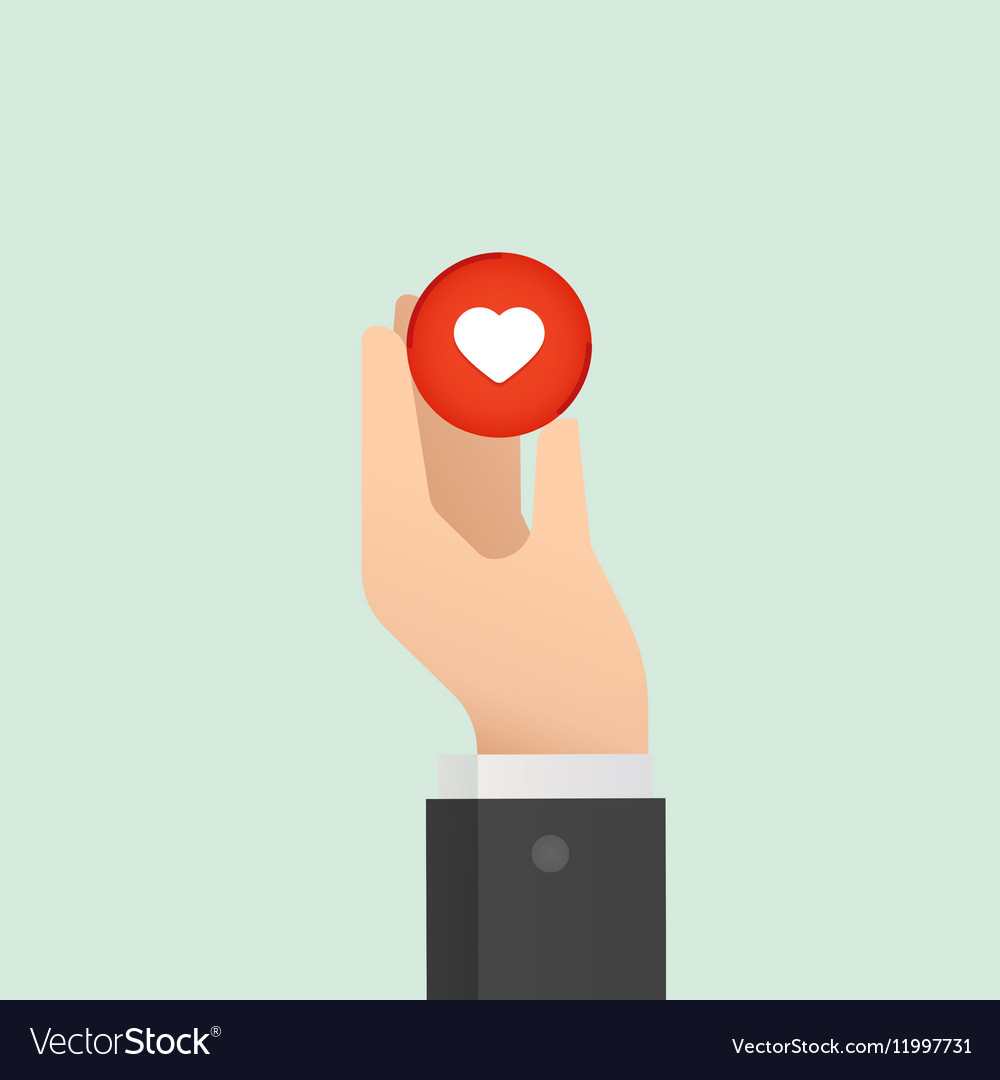 Hand and heart Medical concept Like button Flat