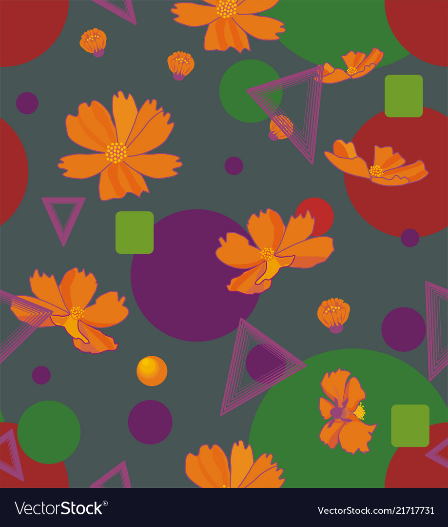 Orange cosmos flowers with geometric shapes of