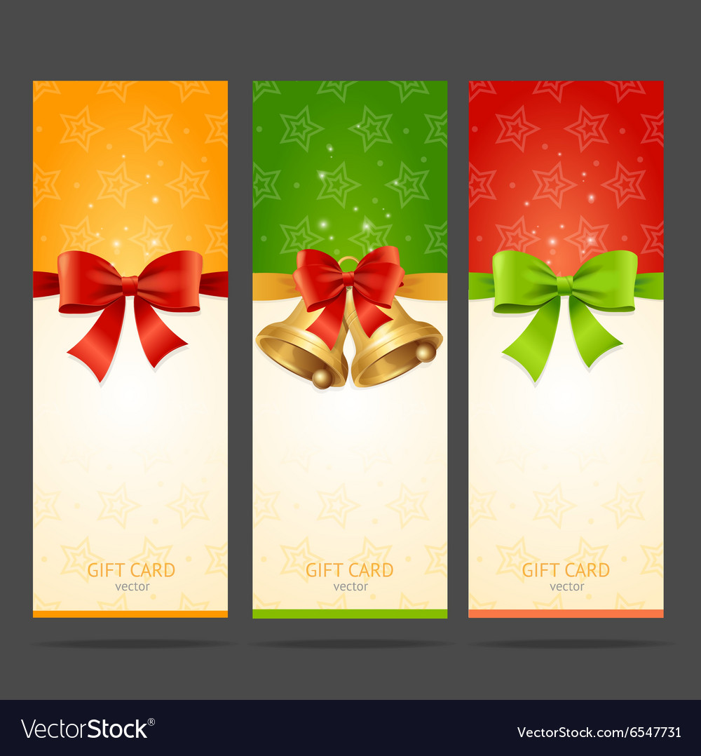 Present Xmas Card with Bow and Bell Set vector image