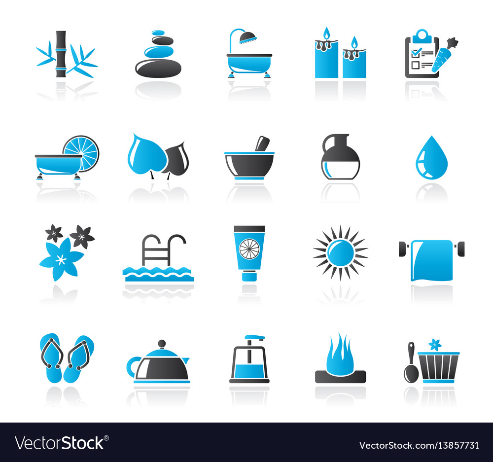 Spa beauty and body care icons vector image
