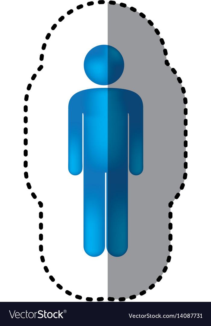 Sticker 3d colorful pictogram man design vector image