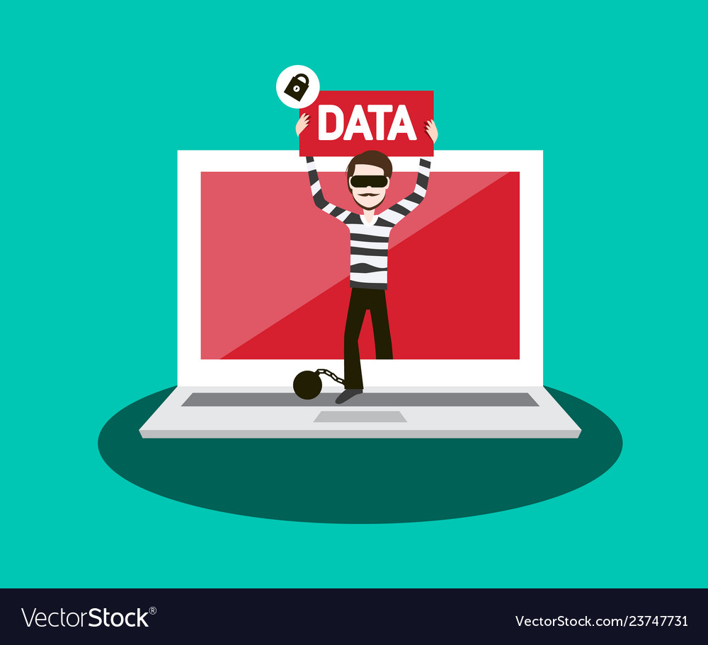 Stolen data concept with thief and notebook