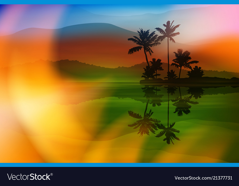 Summer background with sea and palm trees
