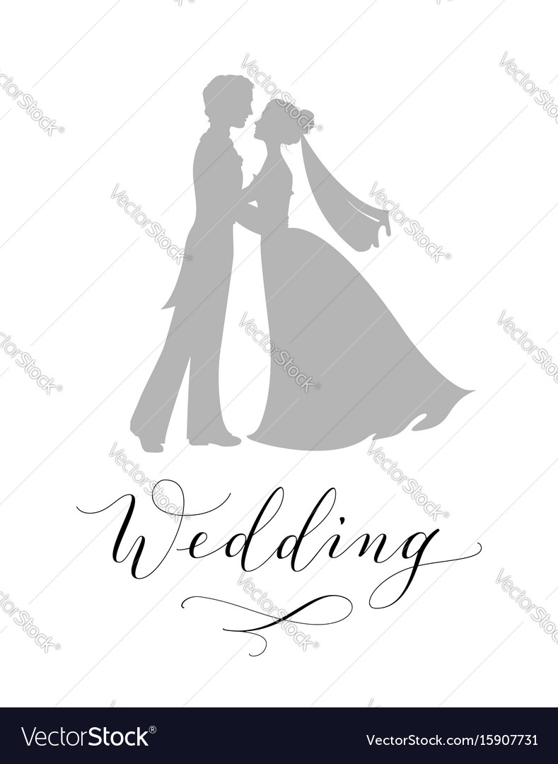 Wedding design concept bride and groom vector image