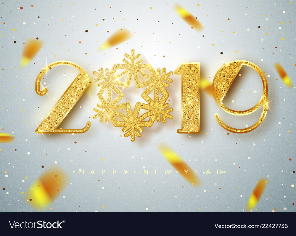 2019 happy new year gold numbers design of