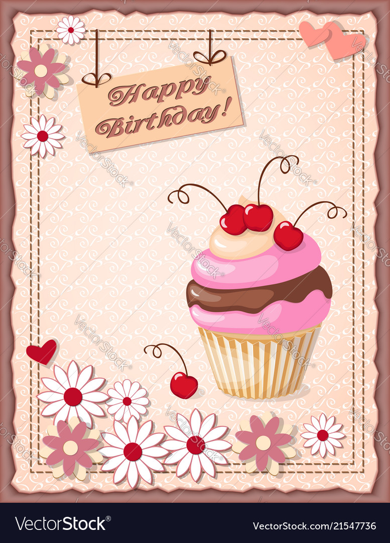 Astonishing Birthday Card With Cake Cherry Hearts And Flowers Vector Image Funny Birthday Cards Online Fluifree Goldxyz