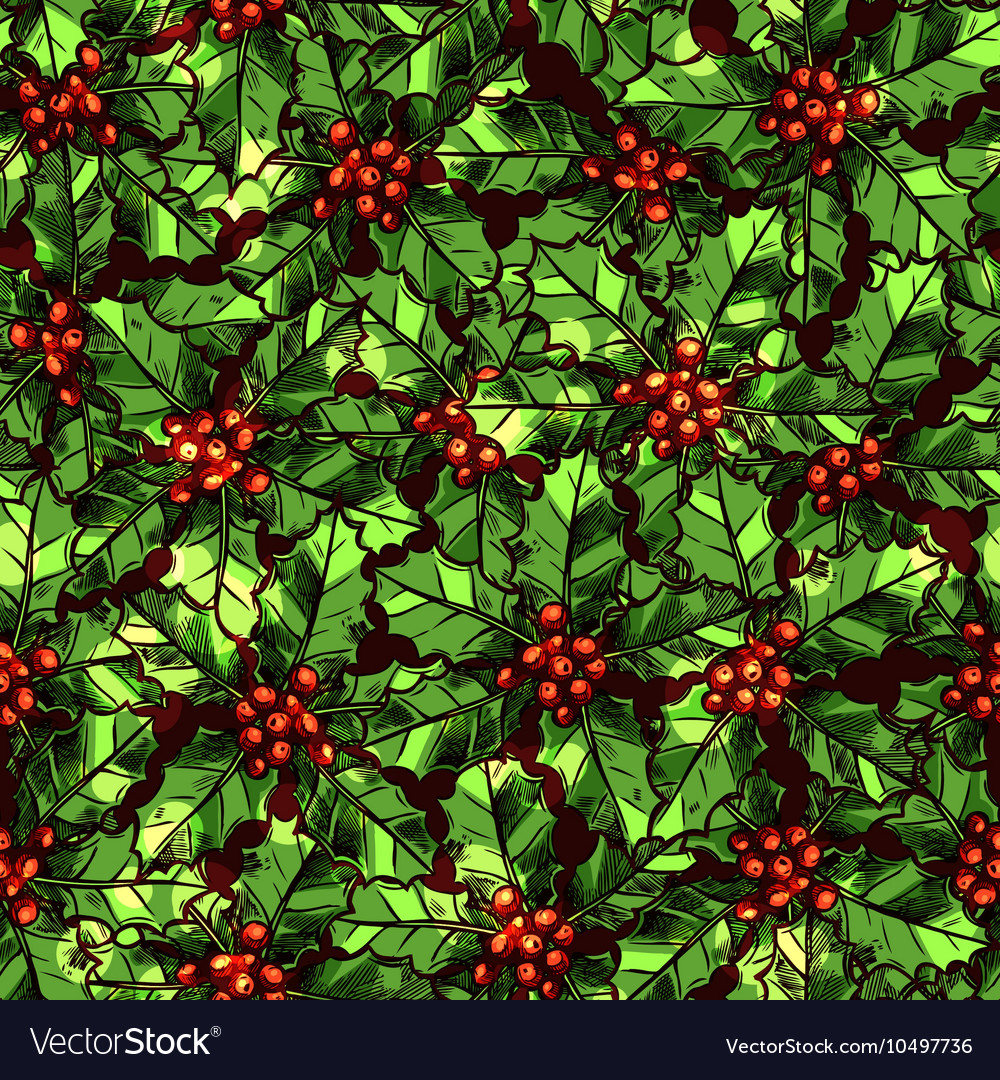 Christmas Pattern With Holly