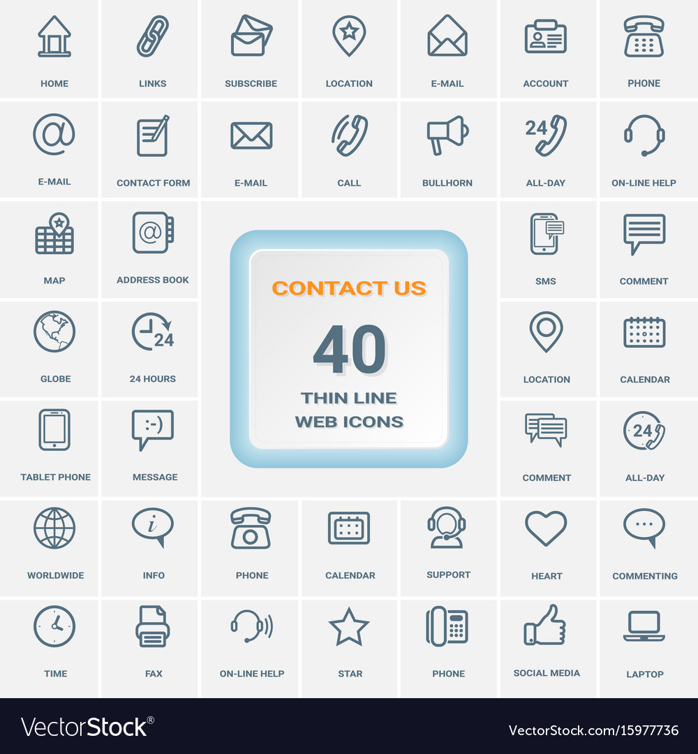 Contact us - set of thin line web icons isolated