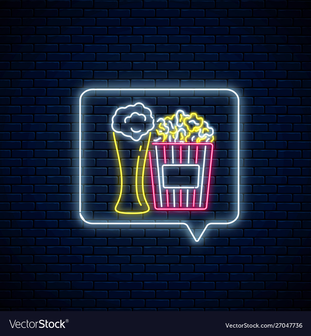 Glowing neon sign beer and popcorn in message
