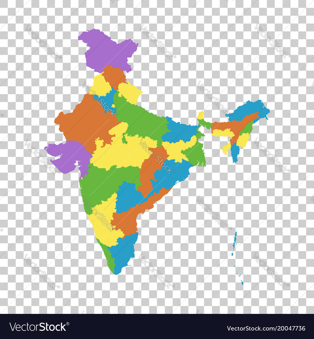 India Map With Federal States Flat Royalty Free Vector Image