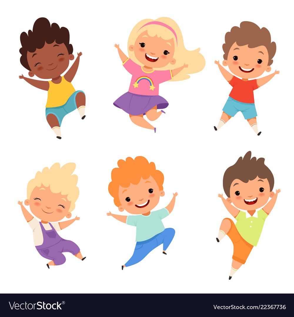 Jumping kids happy school children smile laugh