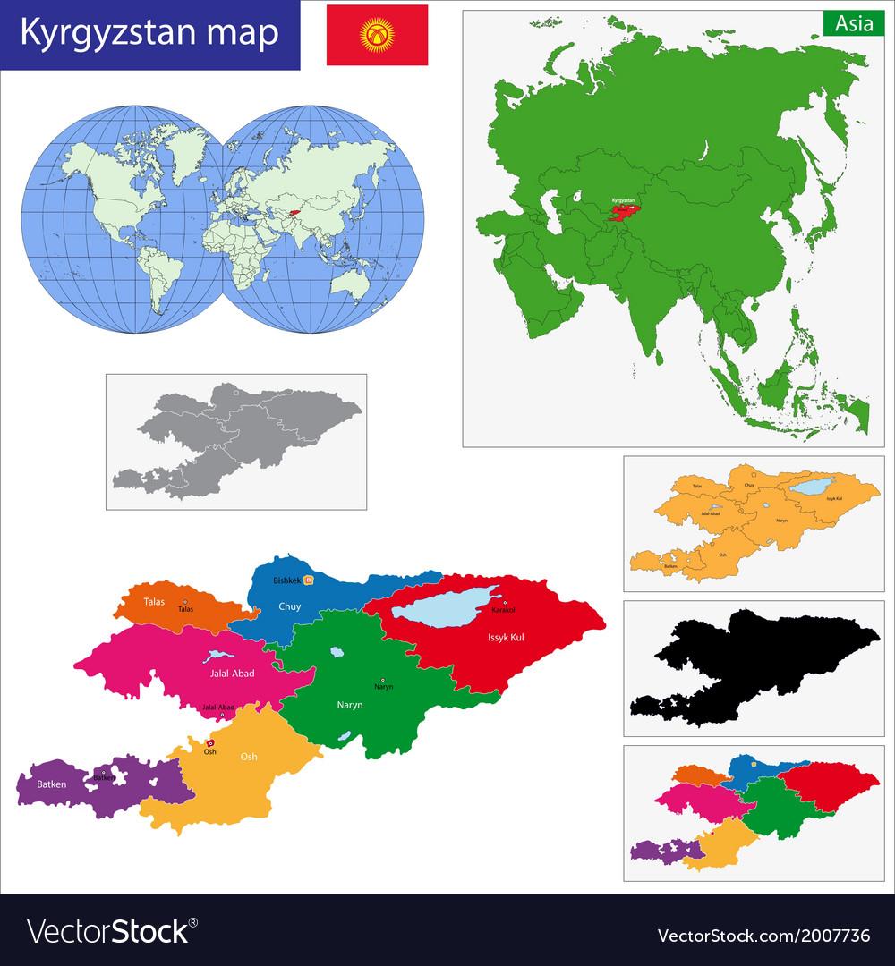 Kyrgyzstan map Royalty Free Vector Image - VectorStock