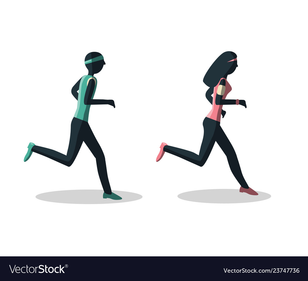Man and woman running healthy lifestyle concept