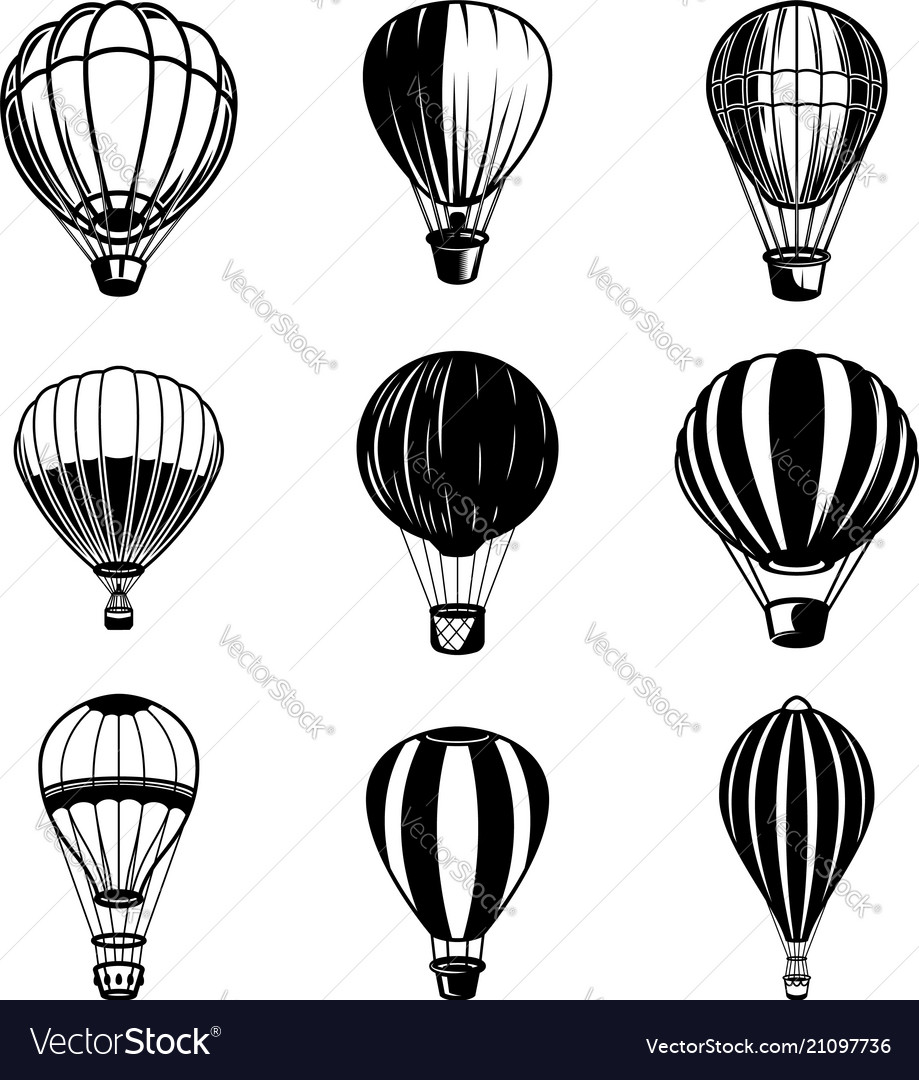 Set of air balloon design element for logo label
