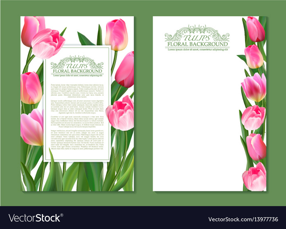 Set of vertical banner with pink tulip