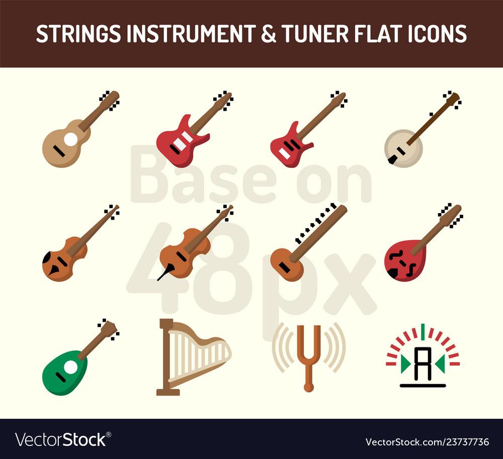 String instrument icon set flat icons base on 48