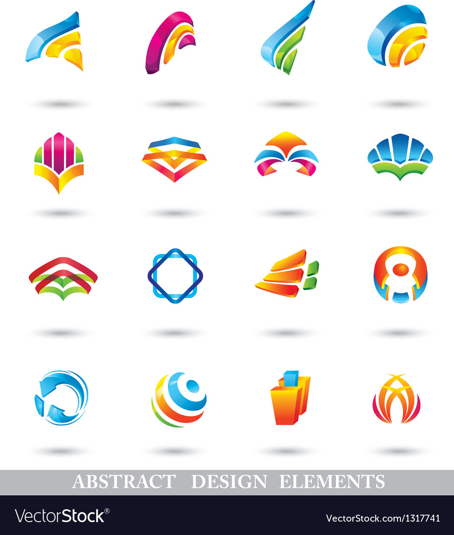 ABSTRACT COLORFUL DESIGN ELEMENTS or ICONS