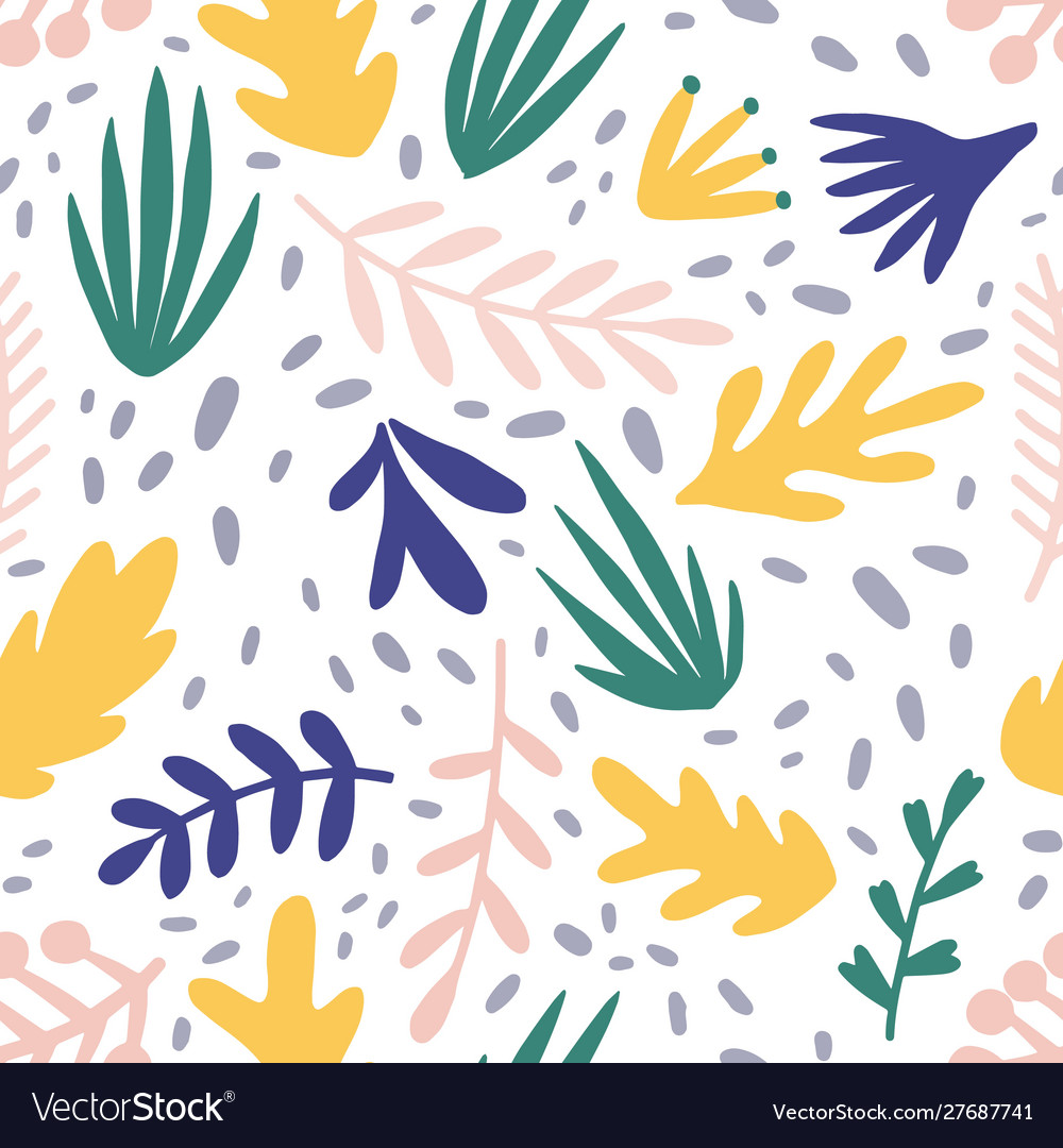 Abstract Plants Flat Seamless Pattern Royalty Free Vector