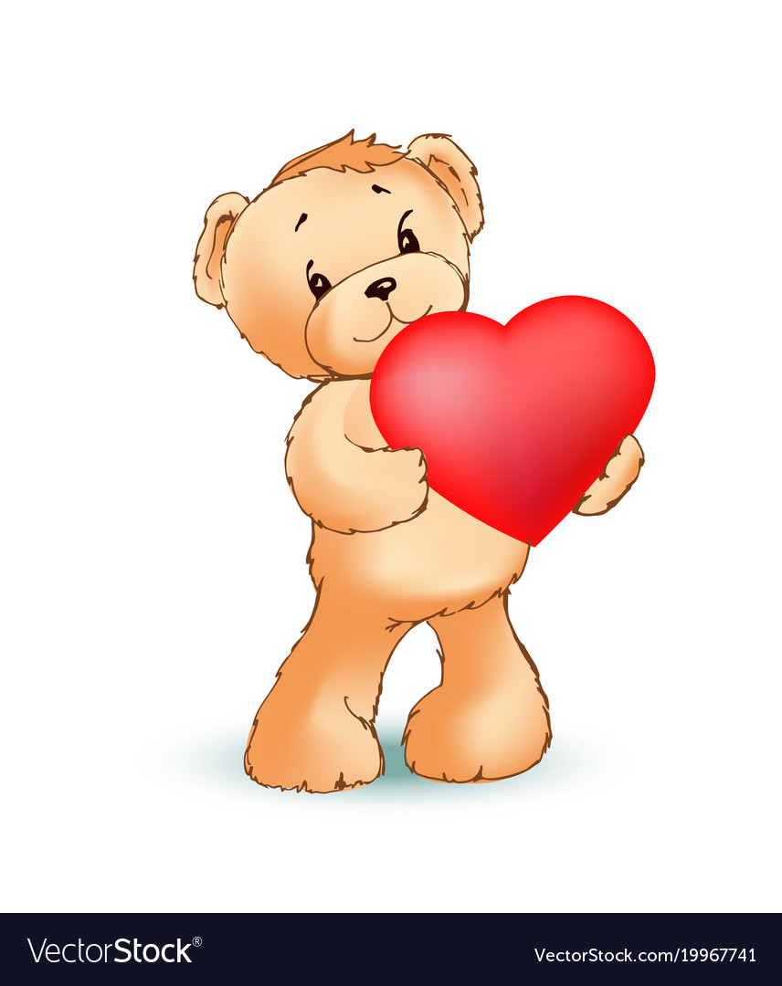 Hay Hay Chicken Stuffed Animal, Adorable Fluffy Teddy Bear Holds Big Red Heart Vector Image