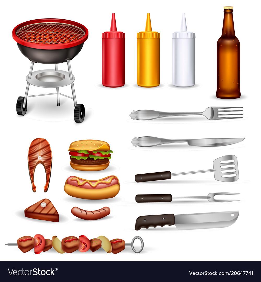 Barbecue decorative icons set