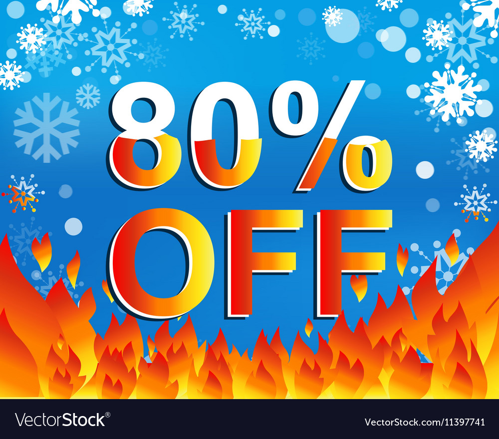 Big winter sale poster with 80 PERCENT OFF text