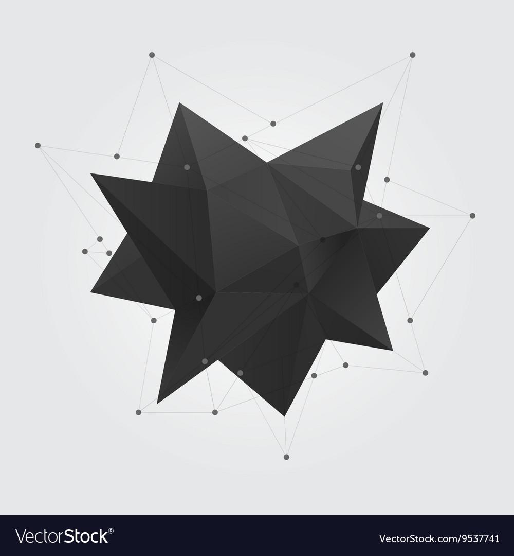 Black polygonal geometric abstract shape figure