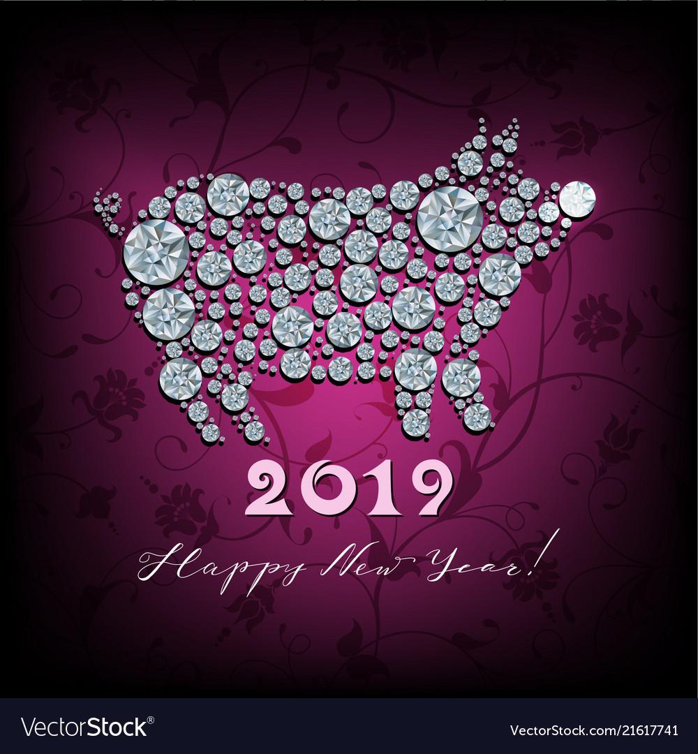 Boar pig - silhouette of symbol 2019 year