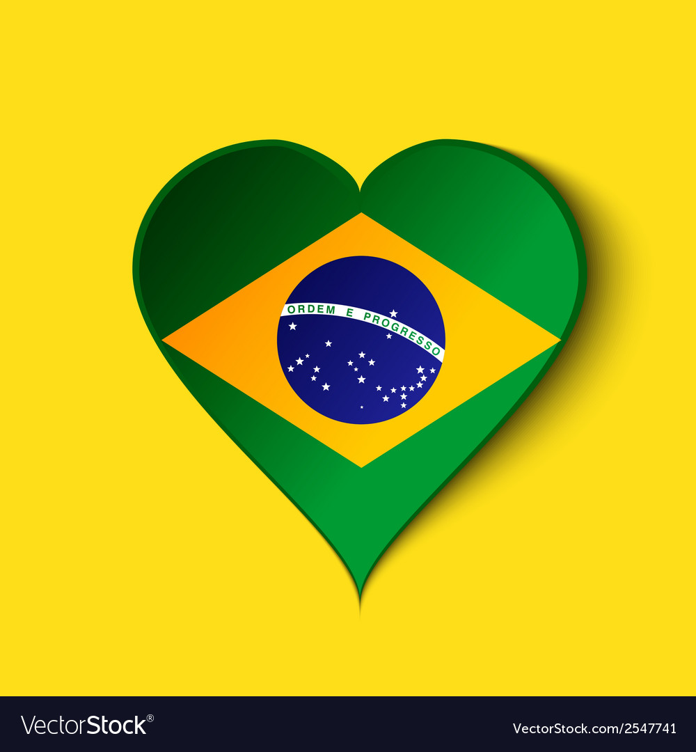 brazil heart icon with brazilian flag royalty free vector