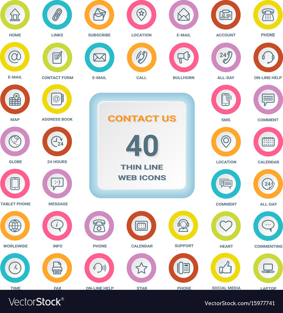 Contact us - set of thin line web icons on a