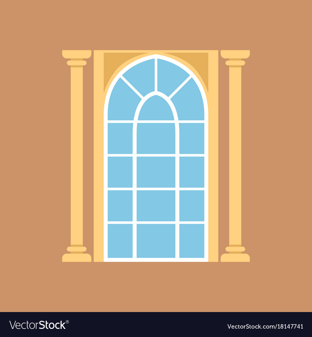 Flat window on brown wall decorated with columns