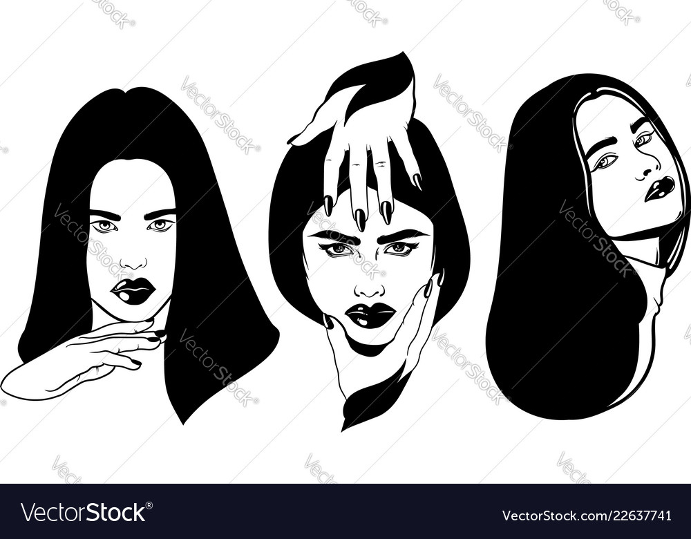 Hand drawn of beautiful women with hands tattoo