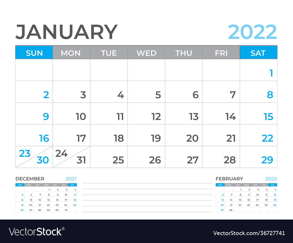 January 2022 Page Desk Calendar 2022 Template Vector Image