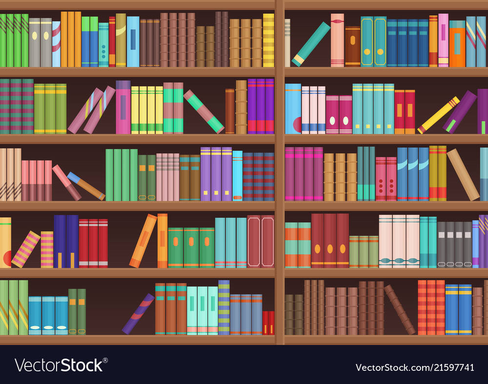 Library Book Shelf Literature Books Cartoon Vector Image