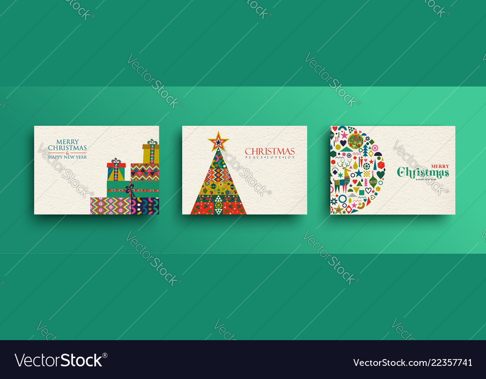 Merry christmas retro folk art card collection