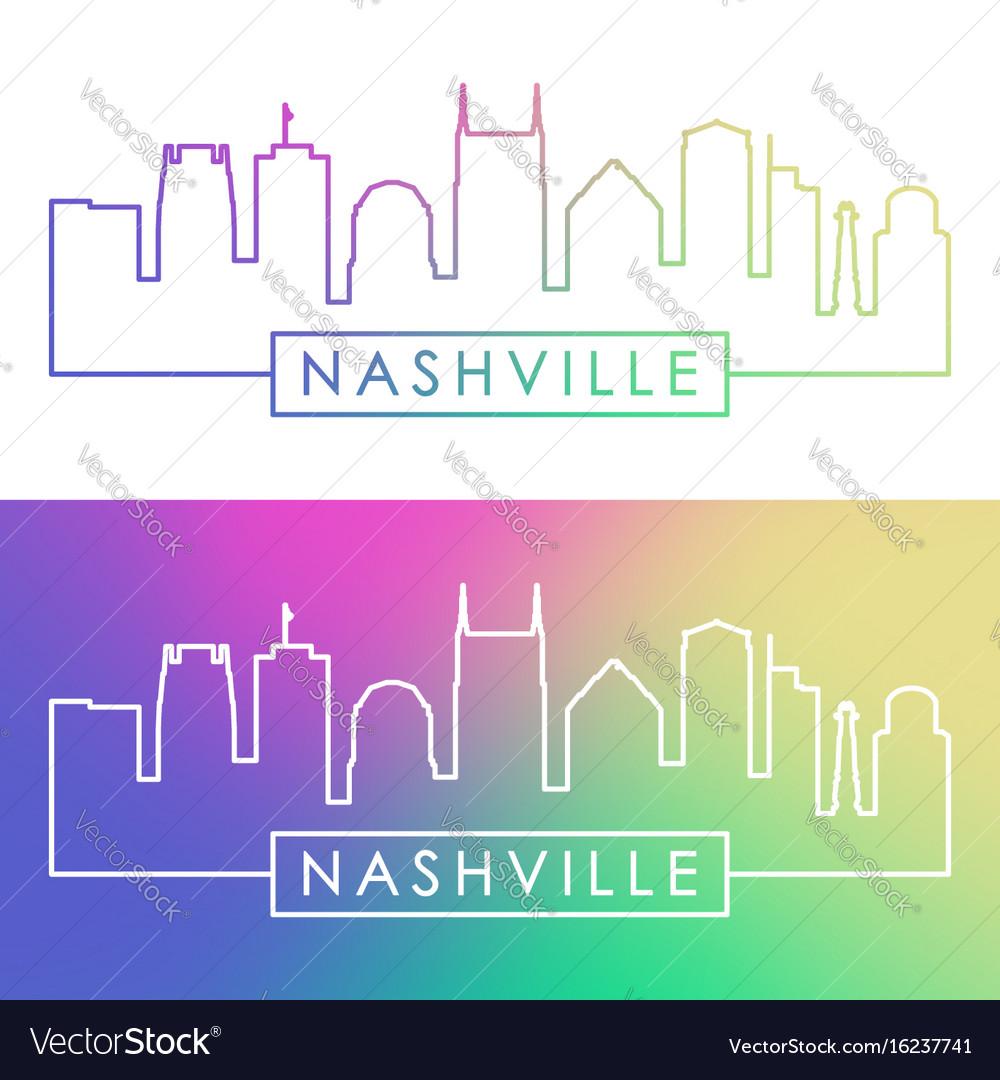 Nashville skyline colorful linear style editable