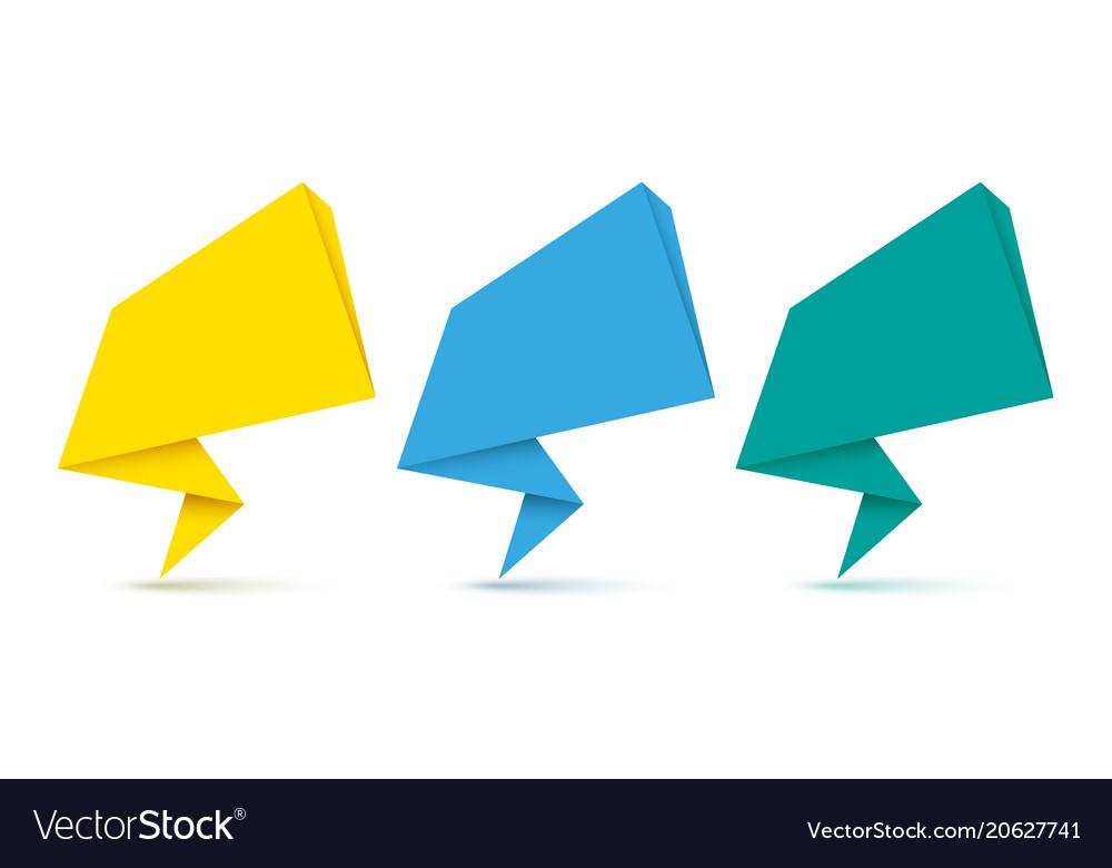 Set of origami speech bubbles vector image
