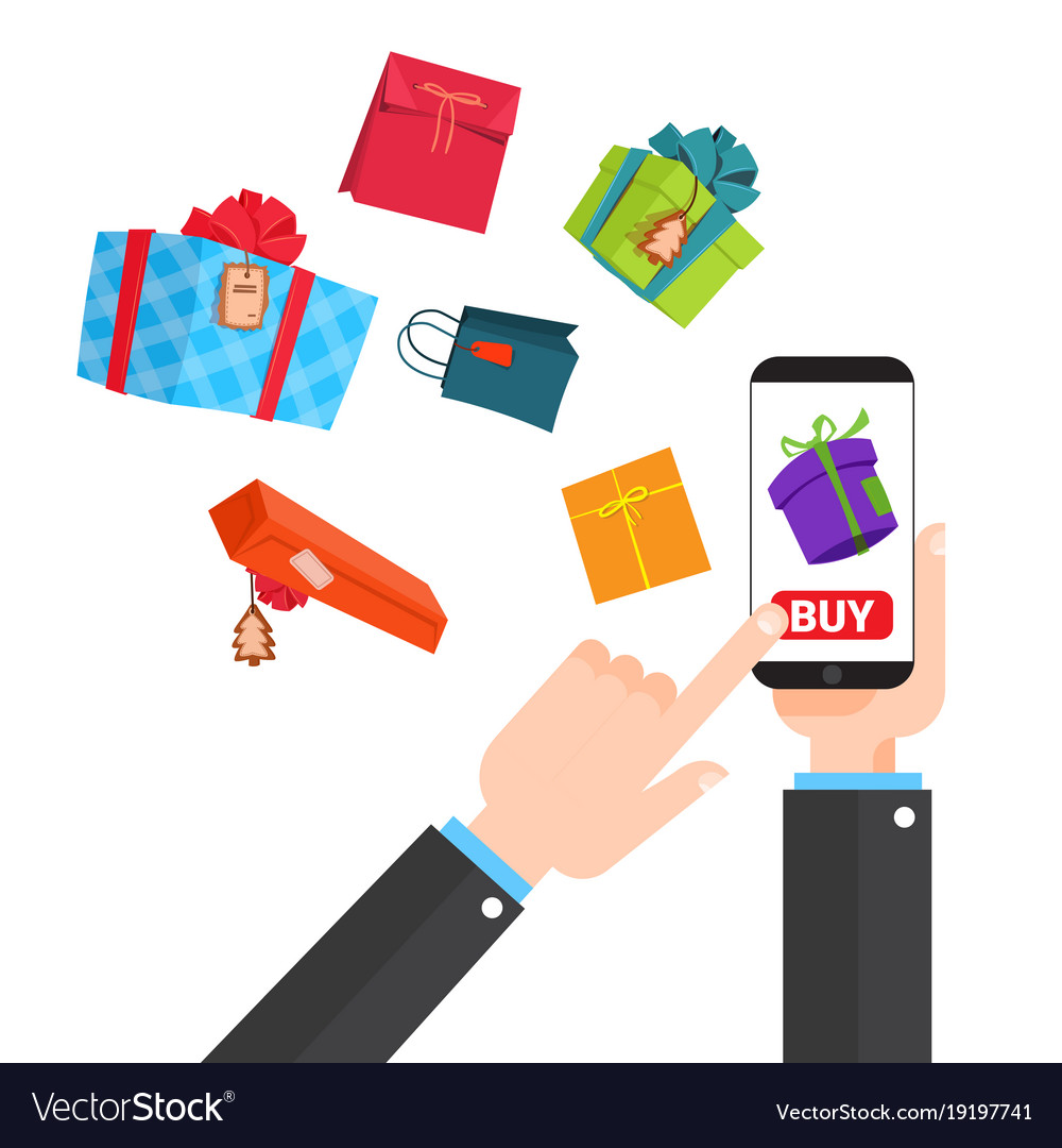 Shopping online concept hand holding smart phone
