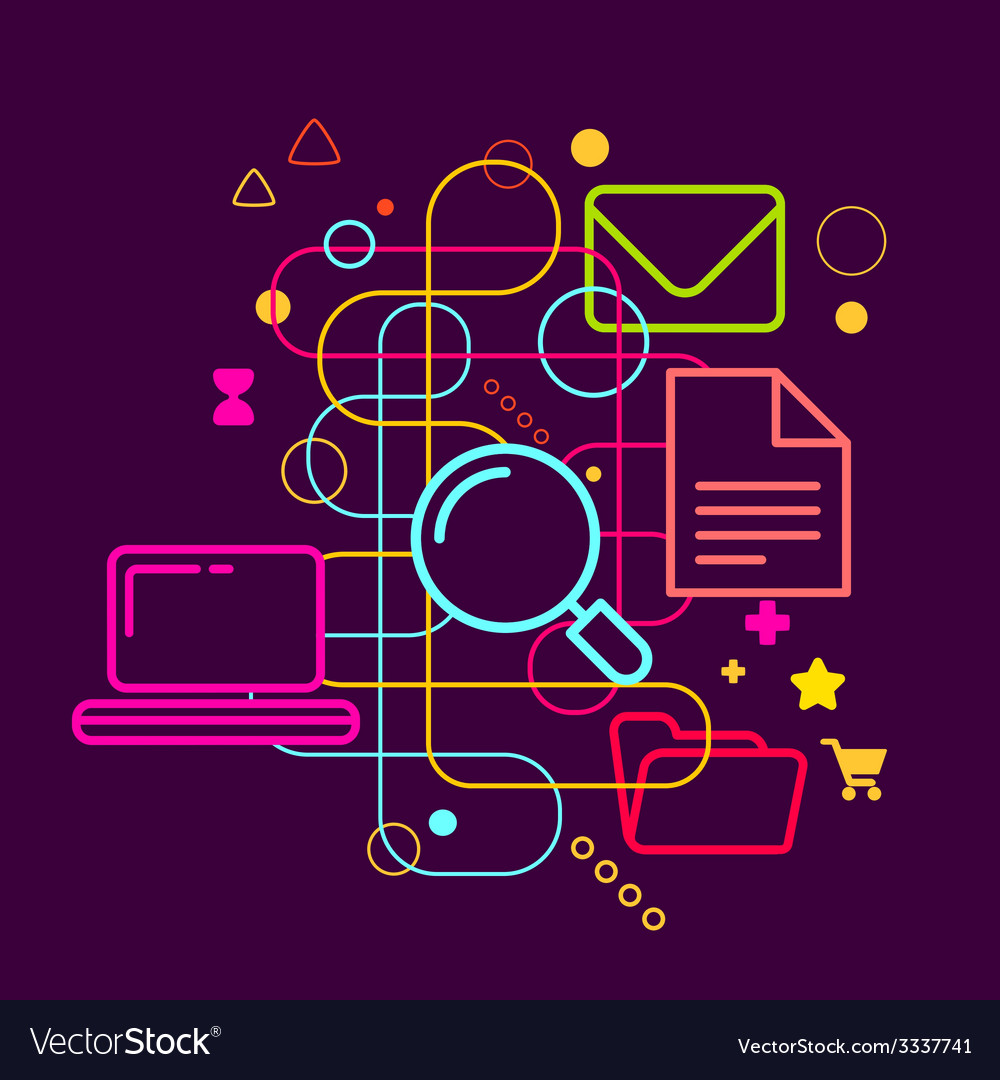 Symbols Of Internet Searching On Abstract Colorful