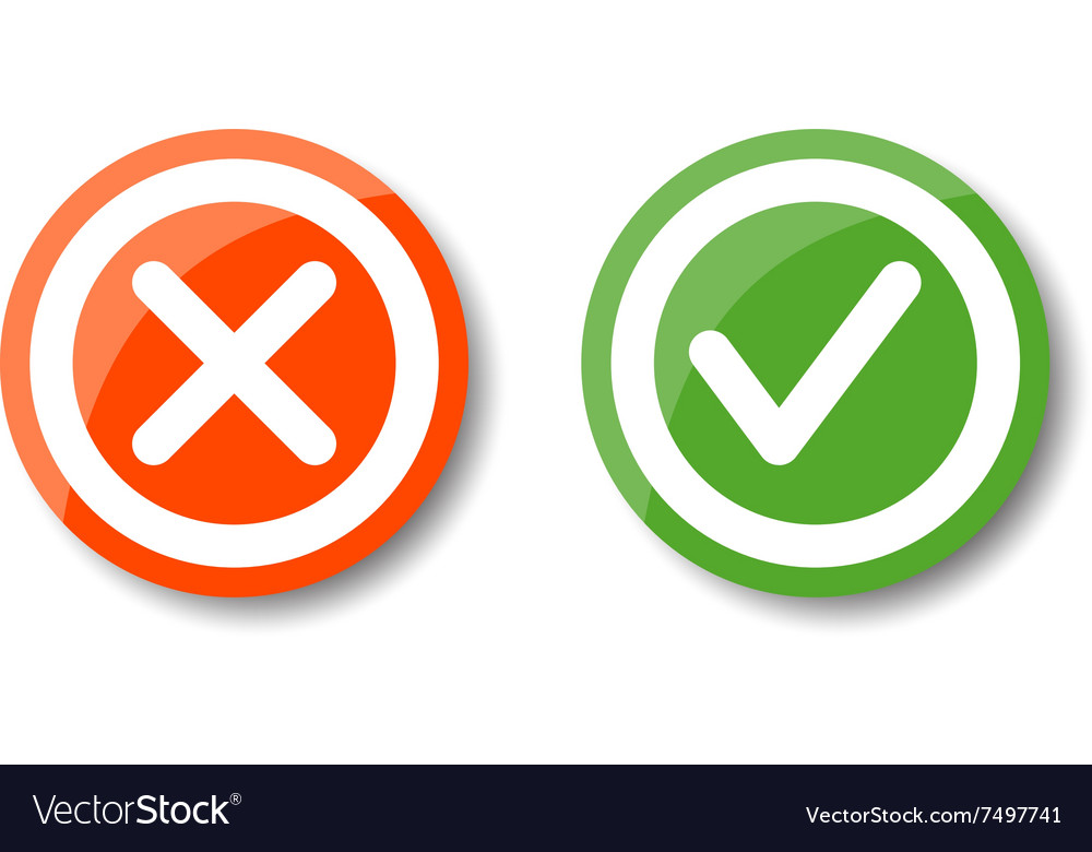 Tick and cross icons vector image