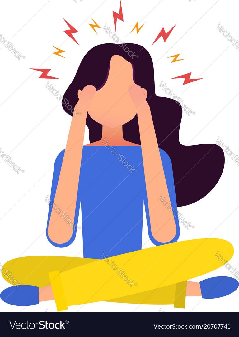 Woman having headache pressing hand