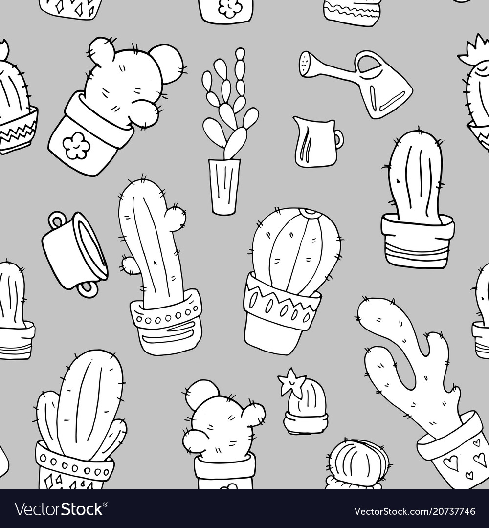 Cactus black and white seamless pattern