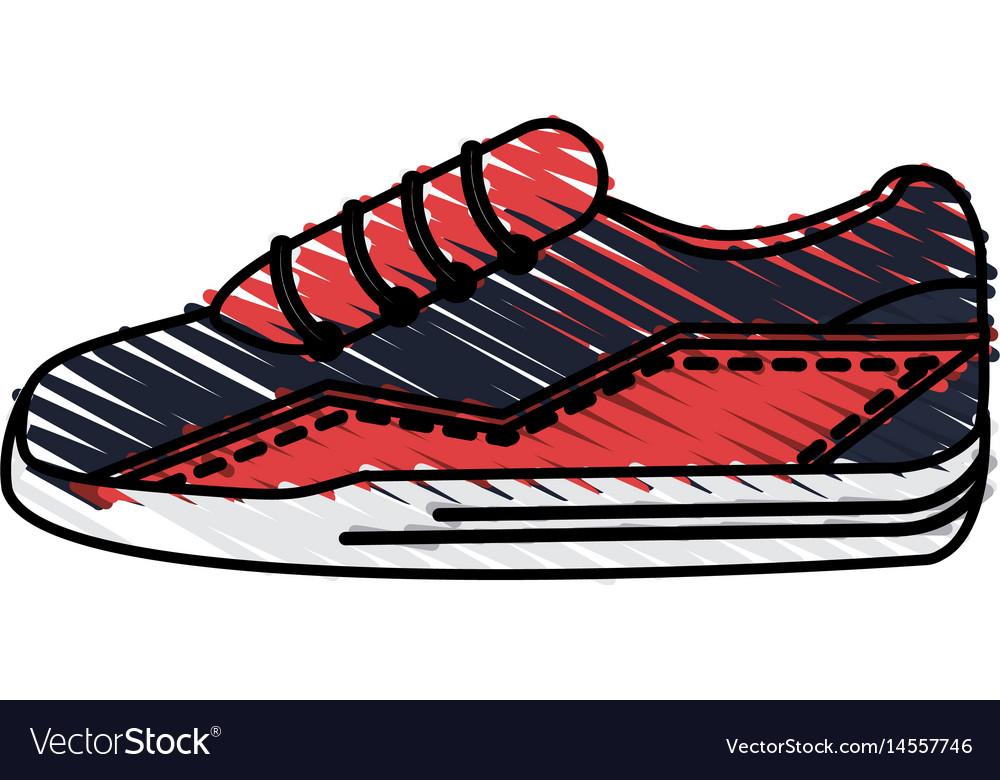 color drawing pencil cartoon sneaker sport shoes vector image