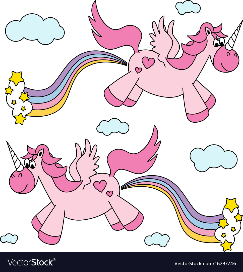 Cute funny pink unicorns farting rainbow and