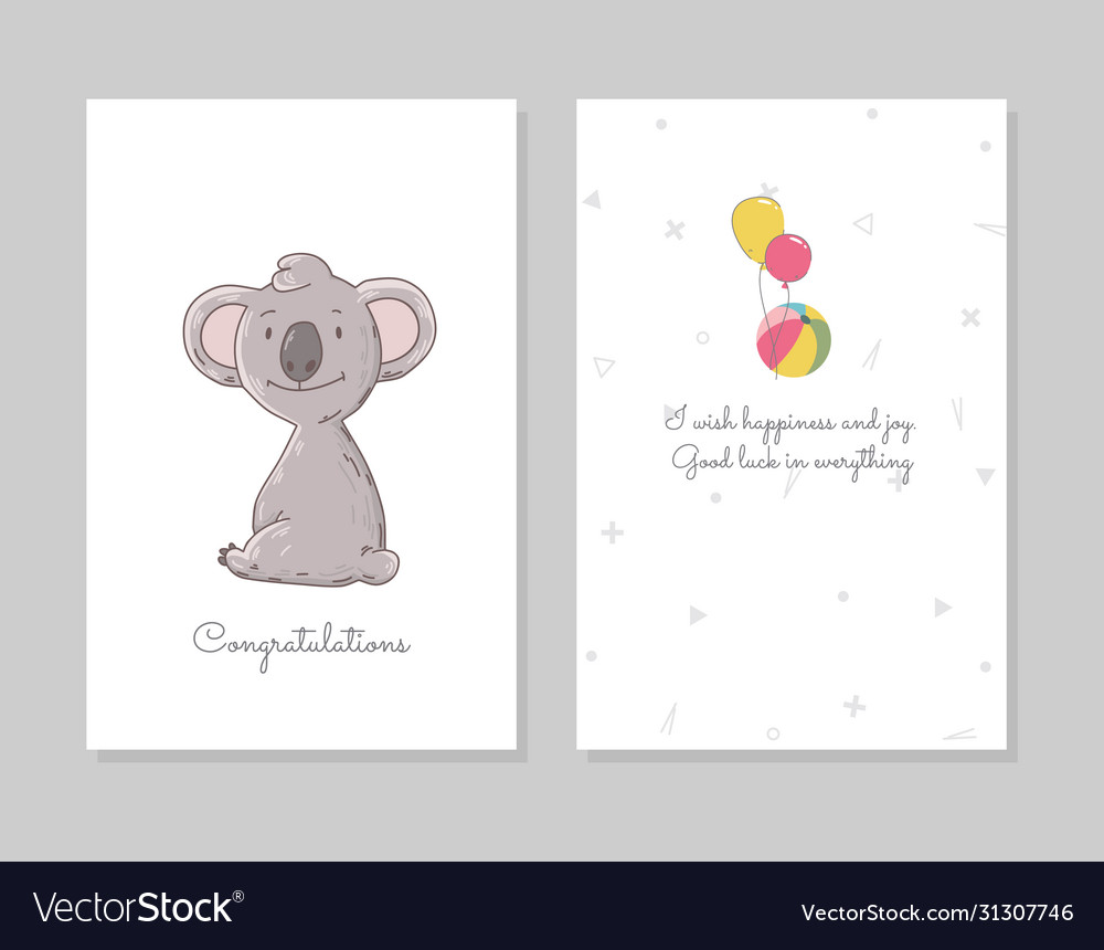 Cute koala sits hand drawn doodle poster template