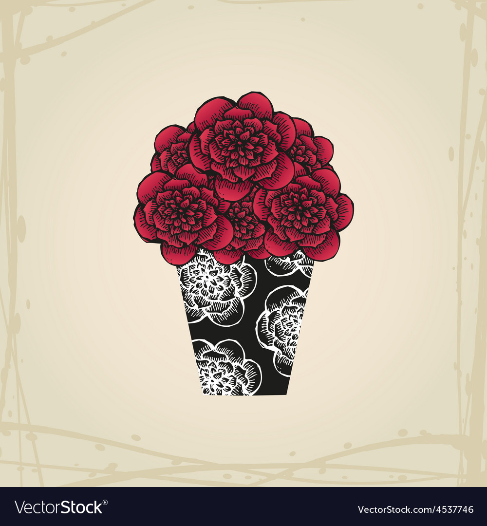 Hand drawn doodle roses in tattoo style and black