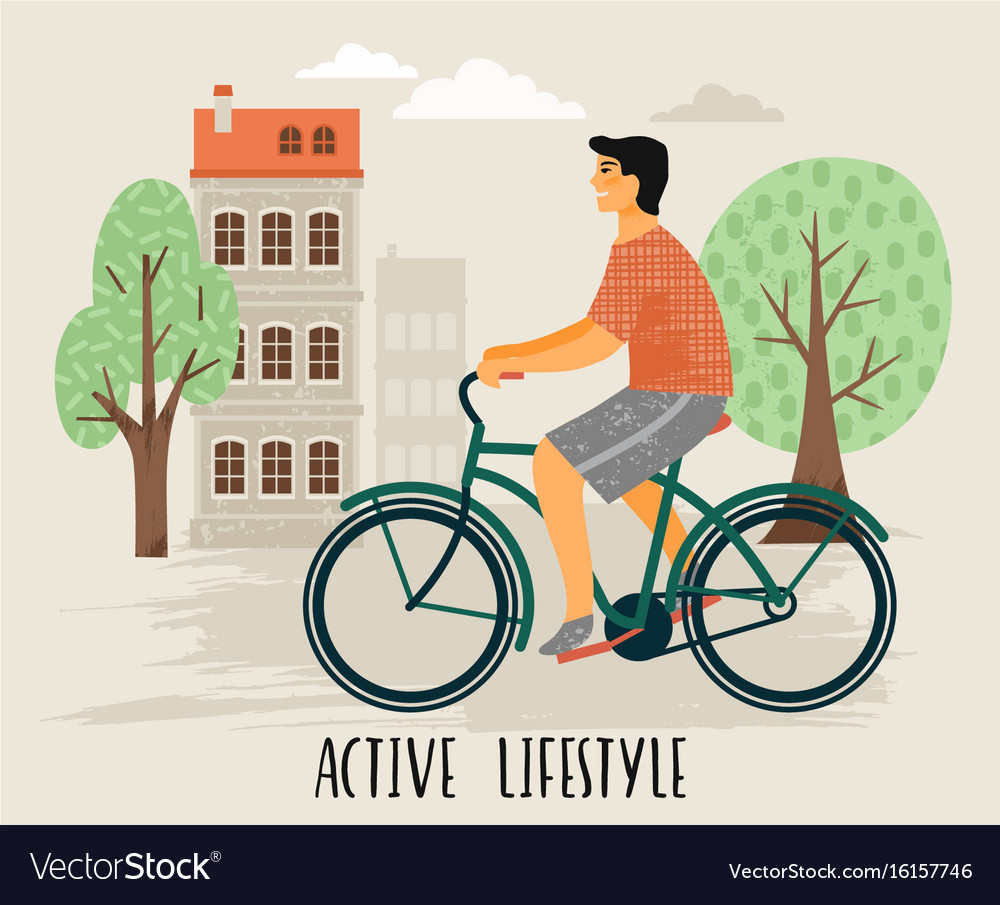 Man on a bicycle healthy